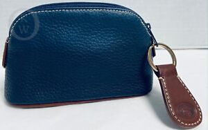 NWOT*Dooney & Bourke *Blue*Leather*Cosmetic/Utility Case/Pouch-  & Key Fob