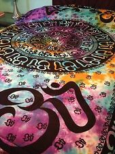 OM Aum YOGA Indian CHAKRA Tie Dye HIPPIE India Wall Hanging TAPESTRY Bedspread