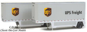 2-Pack UPS Freight 26' Drop Floor Trailers Walthers SceneMaster 1/87 HO 949-2551