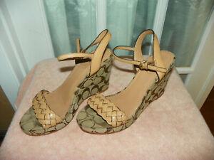 Coach Heels Wedge Sandals Shoes CC Logo Khaki A3017 Women's Size 8 Medium