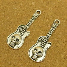 Wholesale 8pcs Tibet Silver Skull Guitar Charm Pendant Beaded Jewelry Diy 80