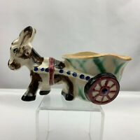 Vintage Donkey Pulling Cart Planter -Made in Japan