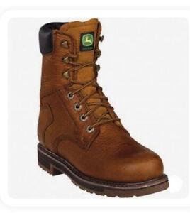 "JOHN DEERE 8"" Golden Tan Lace-Up Steel Toe Work Boots JD8322 Men 11.5 M"