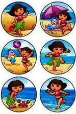 6 x Circle Stickers ~ Dora Boots Beach Water Ball Game Crab Sand Play Umbrella ~