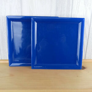 Set of 8 Blue Square Plastic Dinner Plates ~ Picnic Durable Nachos Spring Summer