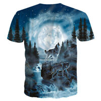 Fashion Wolf Animal Howling 3D Print Men Women Casual T-Shirt Crew Tee Tops