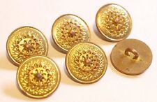 6x Vintage Sunshine Flower Design Metal Round Buttons ~ 22mm