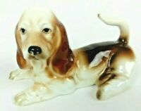 Basset Hound Dog Porcelain Vintage Small Figure Brown White Puppy Fragile Tail