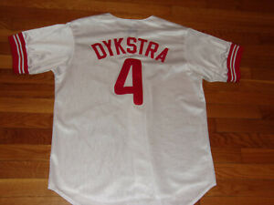 MAJESTIC PHILLIES DYKSTRA BUTTON-FRONT BASEBALL JERSEY MENS LARGE EXCELLENT COND