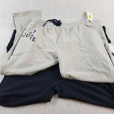 NWT Lacoste Men's Sleepwear Pants s XL Navy/Gray Side Stripe Croc Logo