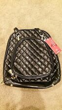Women's Black quilted with Gold fittings Backpack bag BNWT free post E32