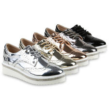 Damen Halbschuhe Dandy Brogues Plateauschuhe Metallic Profilsohle 814875 Schuhe