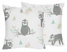 Pink and Grey Jungle Sloth Leaf 2p Decorative Accent Throw Pillows by Sweet Jojo