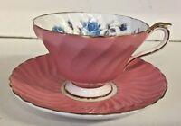 Vintage Aynsley Tea Cup & Saucer England Blue Cabbage Rose Pink Scalloped Bone