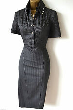 KAREN MILLEN EVA PINSTRIPE STRETCH SHIRT PENCIL DRESS SIZE 10
