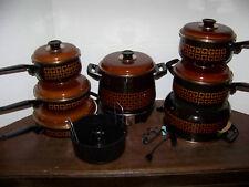 Vntg Enamelware Cookware UNUSED Spain POTS FRY PANS ENAMEL SPADE West Bend CLEAN
