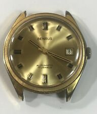 Vintage BENRUS 17 Jewel Automatic Men's Wrist Watch - Gold Tone 35mm Case Works