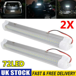 2X 72 LED 12V ON/OFF Switch Interior Light Strip Bar 12 VOLT Car Caravan Van Bus