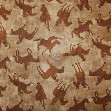 BonEful Fabric FQ Cotton Quilt Brown Tone Horse Cowboy Texas Western Rodeo Lasso