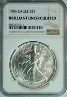 1986 American Silver Eagle Dollar $1 / NGC Brilliant Uncirculated / First Year