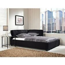 full size adult daybed black corner day bed frame w padded headboard on sale