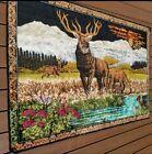 """Vintage Tapestry 70s Mountains  Lake Buck Deer Elk Turkey Man Cave 47""""x70"""""""