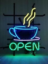 "Coffee Cafe Tea Shop Open Neon Sign Light Beer Bar Gift 24""x20"" Lamp Decor Glass"