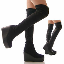 LADIES WOMENS FASHION CASUAL WEDGE HEEL OVER THE KNEE HIGH BOOTS SHOE SIZES 3-8