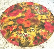 "FIBERGLASS Fibre vtg red pink flowers Round Floral Serving Tray Platter 17"""