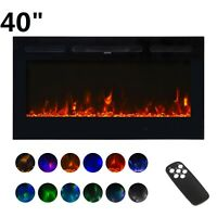 """40"""" Electric Fireplace Wall Mounted Recessed insert Standing Electric Heater"""