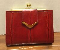 Vintage St. Thomas Red Croc Cowhide Leather Wallet, Kiss Lock Coin Purse
