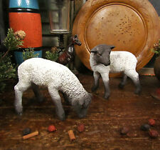 Primitive Vtg Style Farmhouse Meadow Grazing Sheep Lamb Resin Set / 2 Gift Idea