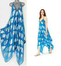 MONSOON Blue HANKY Exotic Embellished Neck Silk Blend Dress UK S/M  £99