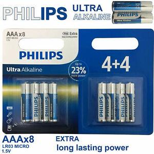 8 X PHILIPS AAA ULTRA POWER ALKALINE BATTERIES LR03, MX2400, MN2400, MICRO.