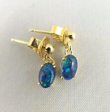 Oval Setting Small Triplet Opal Drop Dangle Earrings 18ct Gold Plated w Cert