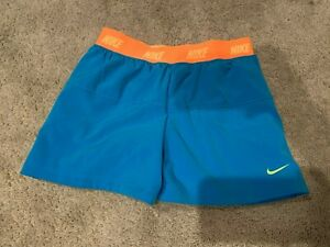 Nike Dri Fit Girls Running Shorts Blue Turquoise Compression [728905-447] Medium