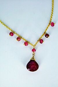 Hand-made Ruby Vermeil Earring Necklace Set