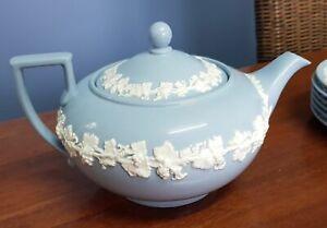 Wedgwood Queensware Teapot, Milk Jug & Sugar Bowl, Blue, Exc Cond, grapevine