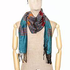 Thai Silk & Cotton Scarf Woven Stripe Scarves Shawl Wrap Summer Arab Long Blue