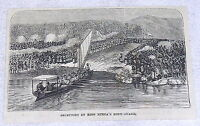 1878 magazine engraving~ Stanley Congo Expedition, RECEPTION BY KING MTEZA GUARD
