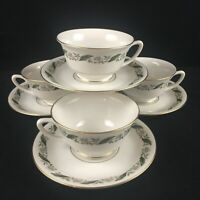 Lot of 4 VTG Cups and Saucers Royal Jackson Magnolia Floral Vogue Ceramic USA