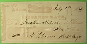 Union Canal Co, Check, Pennsylvania, 1836, with counterfoil.Canal scene vignette