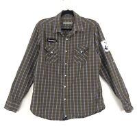 Paper Denim & Cloth Mens Size M Pearl Snap Shirt Rock & Roll Woodstock Guitar
