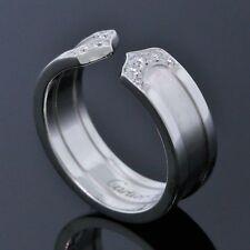 Cartier 18K White Gold Double C Logo Diamond 6.5MM Wide Ring Size Eu 50 US 5.25