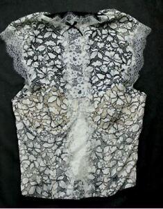 Victoria's Secret Size 34B 12B White Black Lace Sheer Floral Choker Bustier