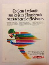 PUBLICITE ANNEES 70 LOCATEL - COULEUR A VOLONTE SUR LES JEUX D'INNSBRUCK