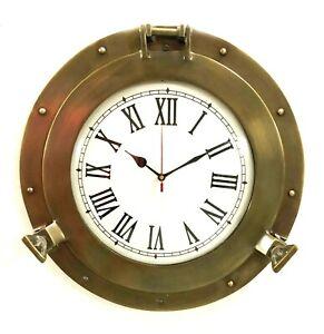 """11"""" Antique Marine Brass Ship Porthole Clock Nautical Wall Clock Home Decor"""