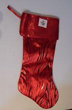 RED SATIN-LIKE ANIMAL PRINT PATTERN LINED CHRISTMAS STOCKING DECORATION