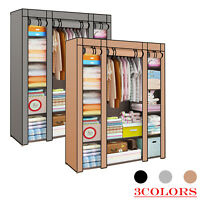 Durable Fabric Canvas Wardrobe With Hanging Rail Shelving Clothes Cupboard Grey