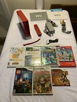 Limited Edition 25th Anniversary Red SMB Nintendo Wii Console w/ 7 Games - Nice